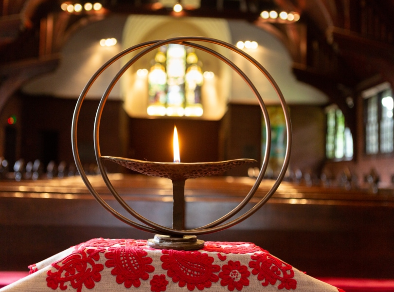 The Unitarian flaming chalice