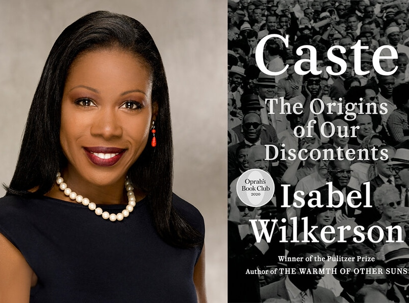 Headshot of Isabel Wilkerson next to an image of the cover of her book, Caste